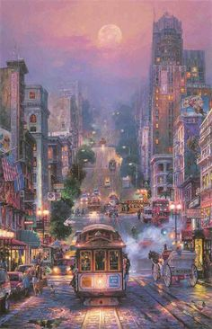 Zhui star diamond embroidery street cityscape diy diamond painting Cross Stitch full square Rhinestone mosaic home decoration Art Watercolor, City Painting, Thomas Kinkade, Art Moderne, Beautiful Paintings, Belle Photo, Landscape Art, Amazing Art, Framed Art