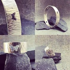 Soon to be listed on the Etsy shop grain textured bangles and rings. Inspired by tree bark with little butterfly cutouts Butterfly Cutout, Grain Texture, Tree Bark, Contemporary Jewellery, Handmade Jewelry, Jewelry Making, Bangles, Wedding Rings, Etsy Shop