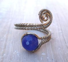 Adjustable Wire Wrapped Ring / wire wrapped jewelry handmade / Blue Agate / silver ring / wire jewelry