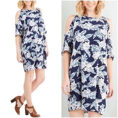 Cold Shoulder Tropical Blue Dress 100% viscose, no stretch. Dresses
