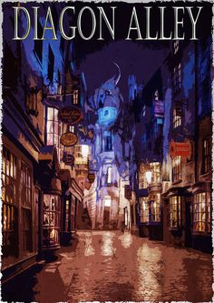 Harry Potter Poster / Diagon Alley Poster by PosterQuest on Etsy