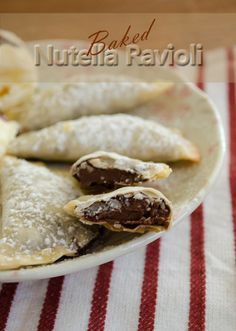 Baked Nutella Ravioli (Would the wonton wrappers get too crunchy? Maybe use phyllo dough instead.)