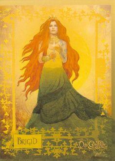 Celtic Goddess - Brigid : Imbolc : Pagan Shop : Home : Pagan/spiritual and fairy/fantasy greeting cards, prints and gifts at Moondragon Brighid Goddess, Celtic Goddess, Celtic Mythology, Goddess Art, Celtic Dragon, Celtic Art, Celtic Fantasy Art, Devine Goddess, Celtic Heroes