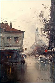 Dusan Djukaric  Rainy day in Zemun, watercolor, 36x55 cm