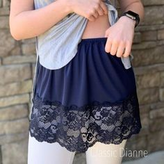 Shirt Extender White Double Scalloped Lace – Classic Dianne - New In Tops Diy Fashion, Ideias Fashion, Fashion Outfits, Navy Lace Top, Shirt Extender, Diy Kleidung, Diy Mode, Scalloped Lace, Refashioned Clothes