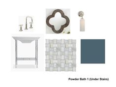 Storyboard / Moodboard for main powder bathroom. Tall Fireplace, Fireplace Wall, Custom Vanity, Bookshelf Styling, Guest Bathrooms, Plumbing Fixtures, Design Consultant, Cool Wallpaper, Exterior Colors