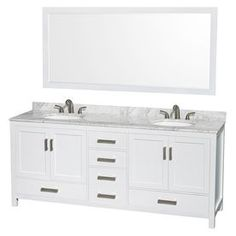 Photos On Wyndham Collection Sheffield inch Double Bathroom Vanity in White White Carrera Marble Countertop Undermount Oval Sinks and inch Mirror Beige
