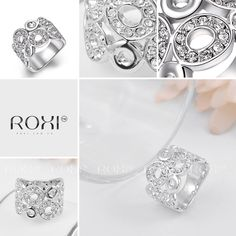 ROXI 18K White Gold Plated Multi Circles Elegant Handmade Ring