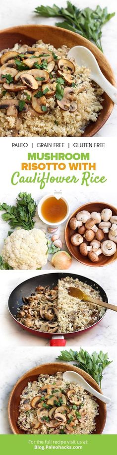 "Cauliflower rice soaks up the savory flavors of garlic and beef in this mouth-watering risotto recipe. For more Paleo recipe ideas grab our FREE ""Paleo Eats"" cookbook (just cover shipping costs). You (Cauliflower Recipes Vegan) Veggie Recipes, New Recipes, Vegetarian Recipes, Cooking Recipes, Healthy Recipes, Chicken Recipes, Paleo Casserole Recipes, Vegan Casserole, Paleo Ideas"