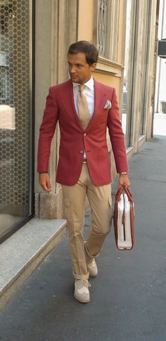 RED JACKET + CARGO PANTS
