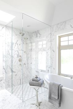 Bath with natural wood and marble finishes  Bath  Contemporary by Enviable Designs