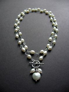 Long Pearl Statement Necklace. Long Pearl by SimpleElementsDesign