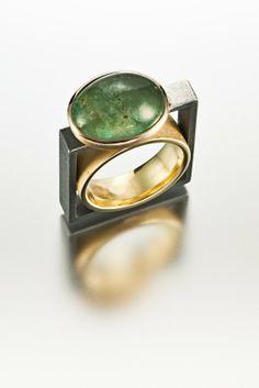 Janis Kerman  - Aquamarine Ring - OXIDIZED STERLING SILVER, 18KT YELLOW GOLD, AQUAMARINE