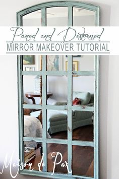 DIY:  Plain Mirror Makeover - this blogger added wood slats to a mirror, stained the slats, then painted & distressed the entire mirror.  This is an inexpensive way to give new life to a boring mirror!