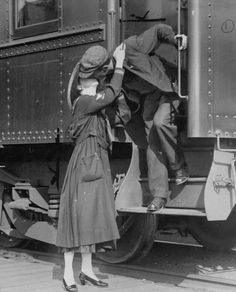 A soldier says goodbye to his wife in Seattle before leaving for WWI in 1917.