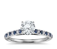 CERTIFIED 1 CT ROUND BLUE SAPPHIRE DIAMOND ENGAGEMENT RING 14 K WHITE GOLD #15 #Solitaire
