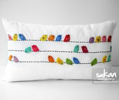 Sukan / Color Birds White Linen Pillow Cover.