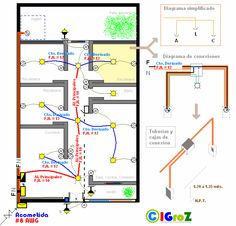 Conductores alimentadores generales. Residential Electrical, Home Electrical Wiring, Electrical Layout, Electrical Plan, Electrical Projects, Electrical Installation, Electrical Engineering, Model House Plan, Tiny House Plans