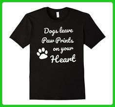 Mens Dogs Leave Paw Prints on your Heart T-Shirt - Dog Memory Tee XL Black - Animal shirts (*Amazon Partner-Link)