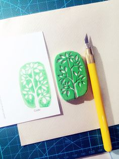 tree hand made rubber stamp