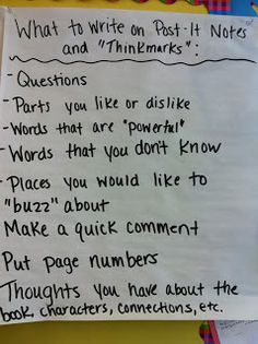 Ideas for what to write on thinkmarks during Reading Workshop.