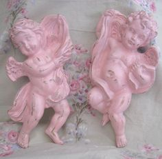 Vintage 1970's Homco Pair Shabby Pale Pink Highly Detailed Cherub Angels Wall Decor Chippy Distressed Paris Cottage Farmhouse