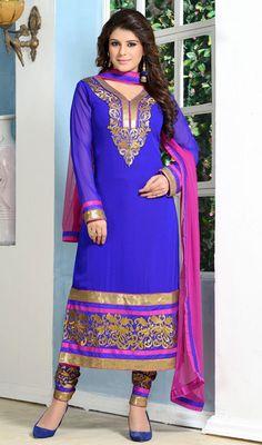 Royal Blue Georgette Long Churidar Suit Price: Usa Dollar $129, British UK Pound £75, Euro94, Canada CA$138 , Indian Rs6966.