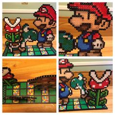 Perler Bead Mario Bros 3 Piece Stand Up Scene Hama Beads, Fuse Beads, Perler Patterns, Bead Patterns, Perler Bead Mario, Lego Birthday Party, Beaded Cross Stitch, Bead Kits, 8 Bit