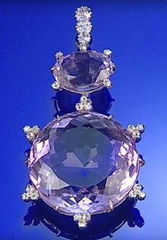 AMETHYST AND DIAMOND PENDANT, CIRCA 1880