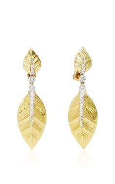 18k Yellow Gold, Platinum, and Diamond Laurel Leaf Earrings by DAVID WEBB (=)