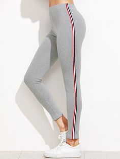 SheIn offers Light Grey Striped Side Leggings & more to fit your fashionable needs. Leggings Gris, Leggings Mode, Floral Leggings, Striped Leggings, Printed Leggings, Women's Leggings, Stripe Pants, Outfits Leggins, Women Pants