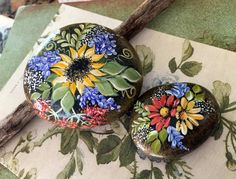 Your place to buy and sell all things handmade Pebble Painting, Pebble Art, Stone Painting, Painting Eggs, Art Rupestre, Art Pierre, Rock Flowers, Rock Hand, Beach Rocks