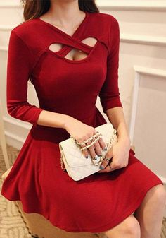 Wine Red Plain Cross Hollow-out V-neck 3/4 Sleeve Sexy Elegant Slim Midi Dress