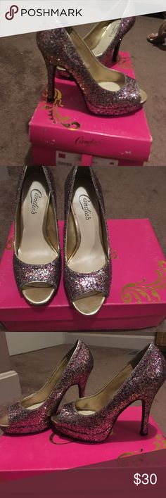 Candies sparkly peep toe heels! Glamorous peep toe heels that will be sure to make any outfit pop! Excellent used condition, worn about a dozen times.  So much fun to wear and always lots of compliments! Stored in original box. Candie's Shoes Heels