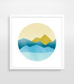 minimal Modern Art Prints, Modern Wall Art, Wall Art Prints, Abstract Landscape, Abstract Art, Geometric Mountain, Mountain Art, Mid Century Modern Art, Design Graphique
