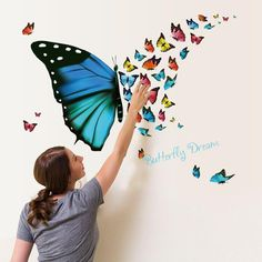 """Amaonm Removable Cartoon PVC DIY Colorful Butterfly Wall Decal & Lettering""""Butterfly Dream"""" Wall Stickers Murals Home Wall Art Decor for Kids Room Girls Bedroom Bathroom Wallpaper Stickers, Wall Stickers Home Decor, Wall Stickers Murals, Wall Murals, Wall Art Decor, Bedroom Wall Stickers, Wall Painting Decor, Room Wallpaper, Nursery Decor"""