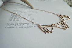 Three gold triangle geometric necklace - chic minimalist look