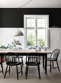 Dining room furniture ideas that are going to be one of the best dining room design sets of the year! Get inspired by these dining room lighting and furniture ideas! Dining Room Design, Dining Room Furniture, Cottage Dining Rooms, Furniture Ideas, Black And White Dining Room, Black White, Kitchen White, White Wood, Dining Room Wainscoting