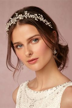 crystal and pearl bridal hair accessories | Effie Headband from BHLDN