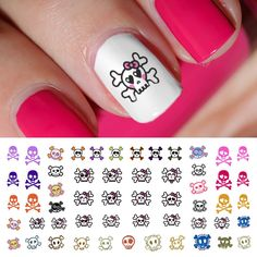 """They cute little skulls look so cool, you can wear them year 'round. 5.5"""" x 3"""" sheet contains skulls in multiple designs and sizes."""