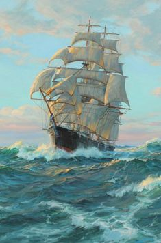 "Roman ""BLEI"", p. Before that, however, he had the frigate ship around seven hundred … – Famous Last Words Ship Paintings, Seascape Paintings, Frigate Ship, Old Sailing Ships, Full Sail, Wooden Ship, Nautical Art, Ship Art, Tall Ships"