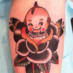 Kewpie by Stuart Cripwell ~ Stuart Cripwell, originally from Pembrokshire in South Wales, has been living in the Bay Area for seven years. Before he started tattooing in 2004, Stuart served a traditional tattoo apprenticeship under Theo Mindell at Spider Murphy's Tattoo in San Rafael California, where he still works today.