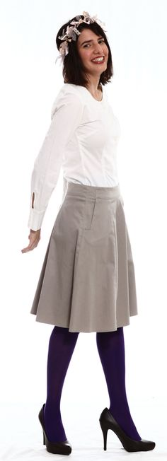 A  line skirt with square pockets by TAMAR LANDAU #modest chic