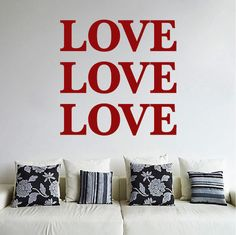 Love, Love, Love Wall Decals - Trendy Wall Designs