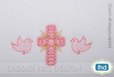 Cross Machine Embroidery Design Fancy Heart por ladderhilldesign