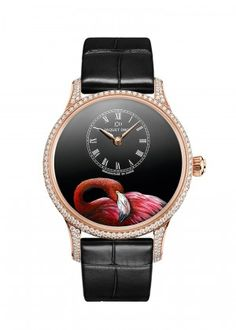 Petite Heure Minute Pink Flamingo   Black Grand Feu enamel dial with miniature painting. 18-karat red gold case set with 248 diamonds, total of 1.74 carats. Self-winding mechanical movement. Power reserve of 68 hours. Diameter 39 mm. Numerus Clausus of 28.