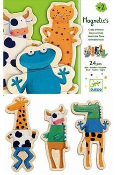 Djeco / Wooden Magnet Play Set, Crazy Animals by Djeco. $22.99. 24 large pieces of bright, colorful, entertaining magnetic mix and match fun. For ages 2 years and older. For use on your own magnetic surface such as a refrigerator or magnetic easel. Painted wooden pieces are fully fused to their magnetic back for strength and durability. Mix and match heads, torsos and legs and let imaginations take over. Get ready for imaginative mix and match fun with this beautiful set o...