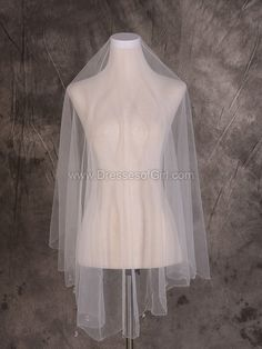 Two-tier Ivory Fingertip Bridal Veils with Sequin/Rhinestones - dressesofgirl.com