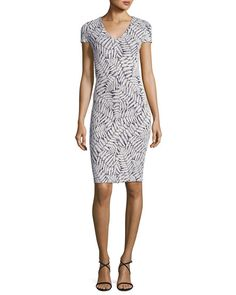 6ec7e4d17ec MICHAEL Michael Kors Short-Sleeve Fern-Print Textured Bodycon Dress, Navy
