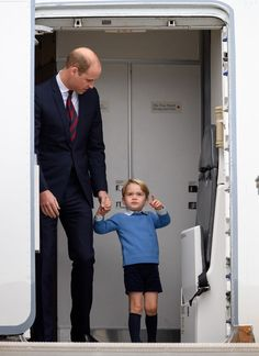 Prince William, Duke of Cambridge and Prince George of Cambridge arrive at the Victoria Airport on September 24, 2016 in Victoria, Canada.